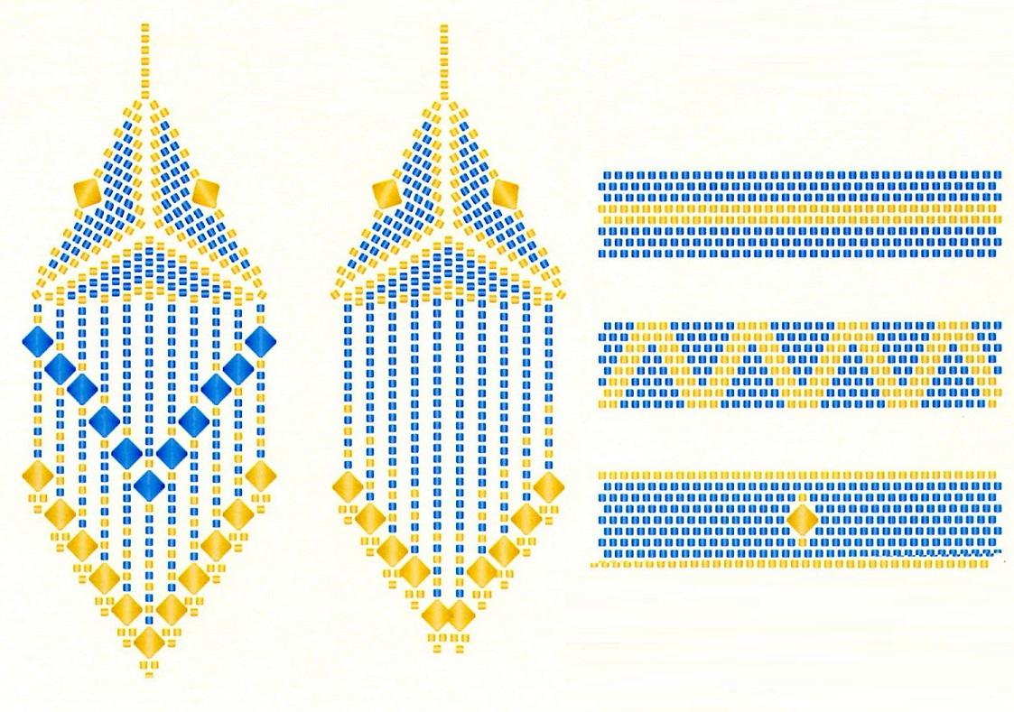 Несколько схем плетения.  Золотистый кулон в виде кубика.  Комплект украшений из голубого и золотого бисера.