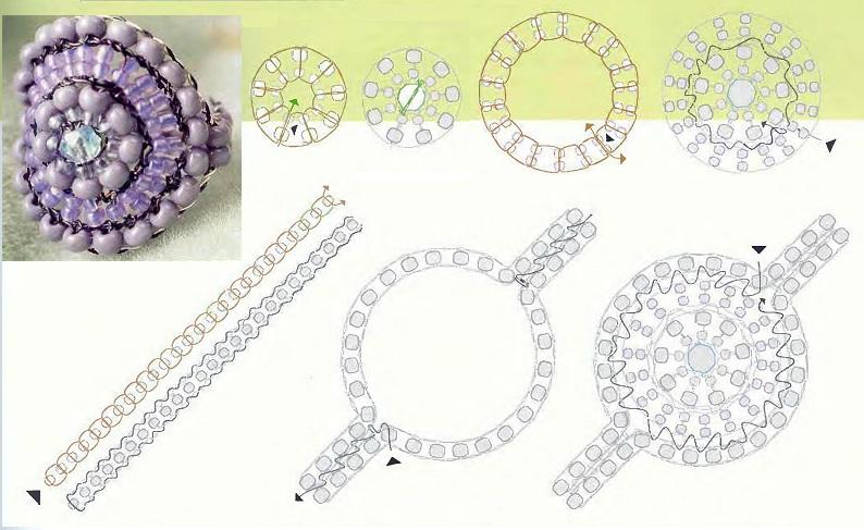 Начинаем с серединки, плетем кольцо из крупного и мелкого фиолетового бисера, потом вставляем в него граненую бусину.