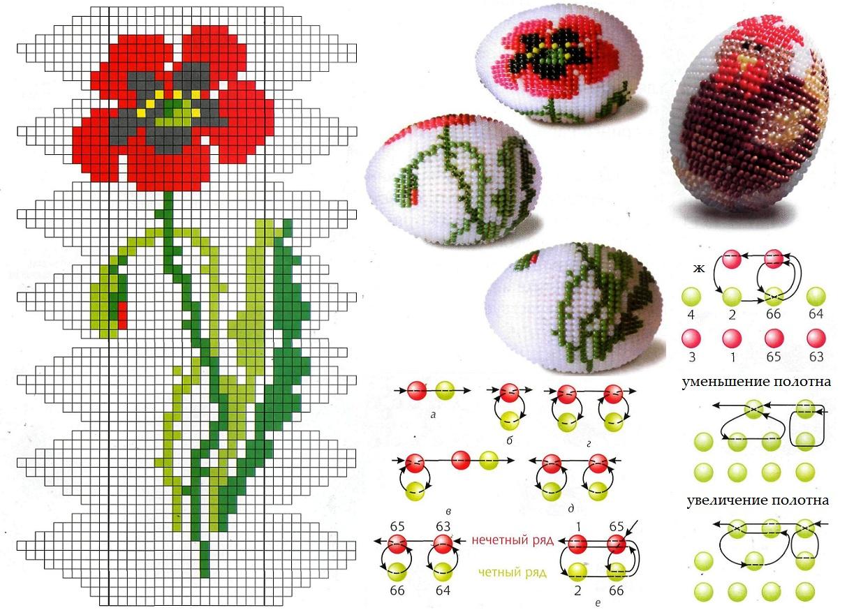 Теги Бисерные яйца, Схемы плетения из бисера, Схема плетения из бисера. .  Так легко и просто сделать подарок родным...